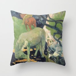 The White Horse by Paul Gauguin Throw Pillow