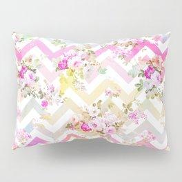 Chic vintage elegant pink flowers chevron pattern Pillow Sham