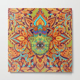 Colorful  Hamsa Hand -  Hand of Fatima Metal Print