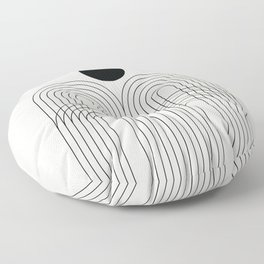 Geometric Lines in Black and Beige 11 (Rainbow and Sun abstraction) Floor Pillow