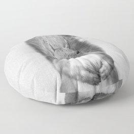 Squirrel - Black & White Floor Pillow