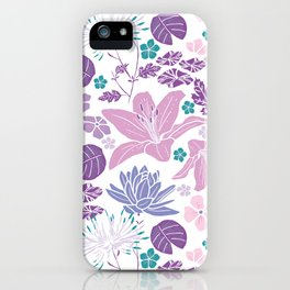 Purple and pink Japanese pond foral iPhone Case