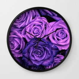 Purple Roses Wall Clock