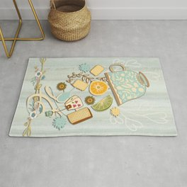 Time For Tea With Friends Series: Floral Tea 2 Rug