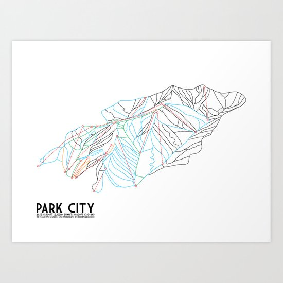 Park City, UT - Minimalist Trail Art Art Print