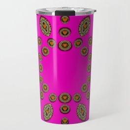 Sweet hearts in  decorative metal tinsel Travel Mug
