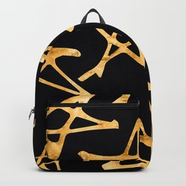 Big Gold Hand-Painted Stars on Black Silk Backpack