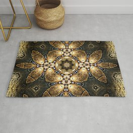 Golden Tribal Abstract Pattern Rug