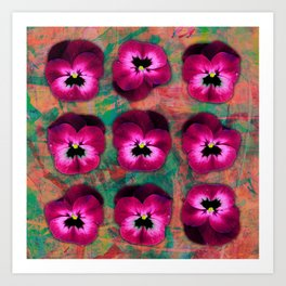 9 cerise on orange & emerald green Art Print