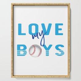 Love My Boys Cute Baseball Mom graphic Serving Tray
