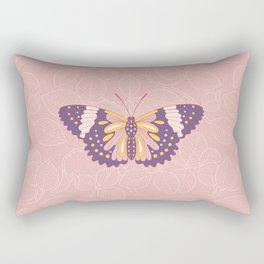 Butterfly in pink background from rose Rectangular Pillow