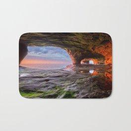 Sea Cave Sunset on Lake Superior Bath Mat