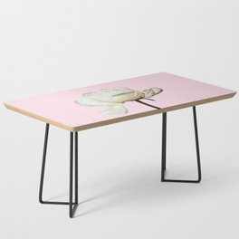 White Peony Pink Background Coffee Table