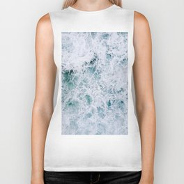 Waves in an abstract white and blue seascape Biker Tank