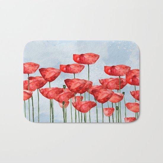 Poppyfield poppies poppy blue sky- watercolor artwork Bath Mat