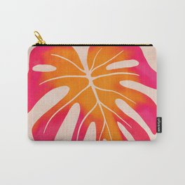 Wild Thing   Pink-Sunset Monstera Leaf Carry-All Pouch