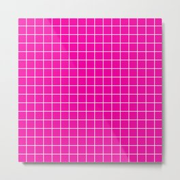 Hollywood cerise - fuchsia color - White Lines Grid Pattern Metal Print