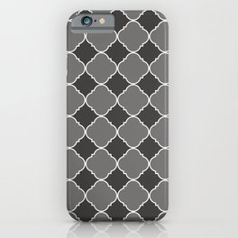Pantone Pewter Ornamental Moroccan Tile Pattern with White Border iPhone Case
