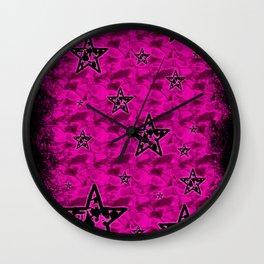 Pink Toxic Stars Wall Clock