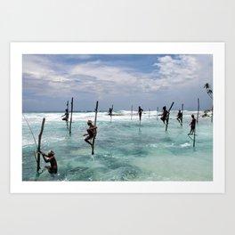 Fishermen in Sri Lanka Art Print