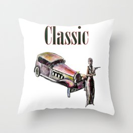 Classic car and art deco girl Throw Pillow