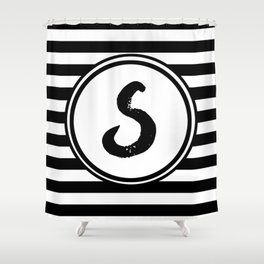S Striped Monogram Letter Shower Curtain