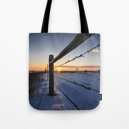 Barbed Wire Sunrise Tote Bag