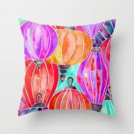 Vietnamese Lanters – Tertiary Palette Throw Pillow