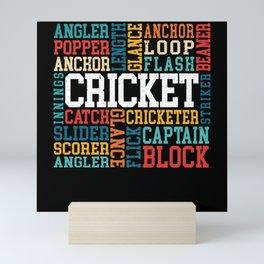 Cricket Word Cloud Cricketer Bat Ball Player Coach Mini Art Print