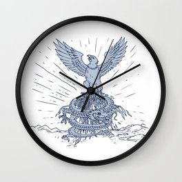 Eagle and Dragon Mountains Drawing Wall Clock