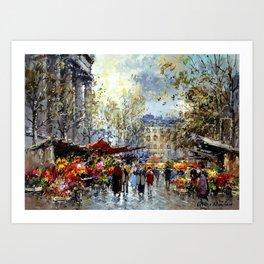 Flower Market, Madeleine, Paris, France by Antoine Blanchard Art Print
