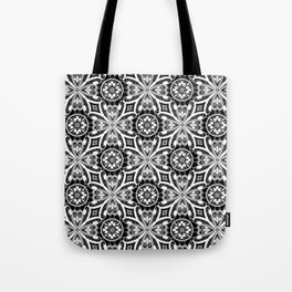 Retro . Lace black and white pattern . White lace on a black background . Tote Bag