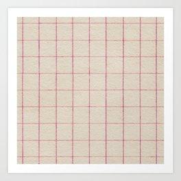 Geometric pink white vintage stripes pattern Art Print