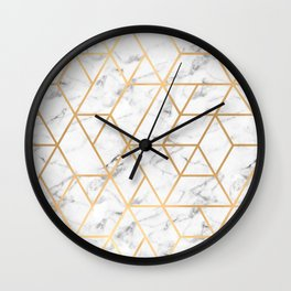 Marble & Gold Geo Lines Wall Clock