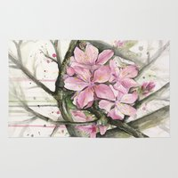 cherry blossom Area & Throw Rugs featuring Cherry Blossom by Olechka