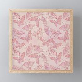 Butterfly Pattern soft pink pastel Framed Mini Art Print