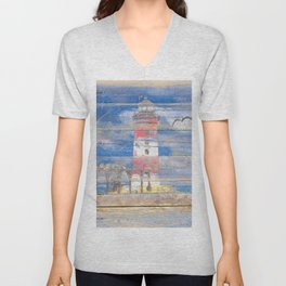 Lighthouse with Seagulls A343 Unisex V-Neck