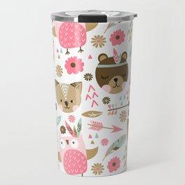 Pink Boho Animals Travel Mug