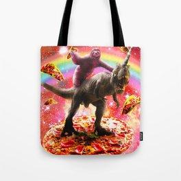Space Sloth Riding Dinosaur Unicorn - Pizza & Taco Tote Bag