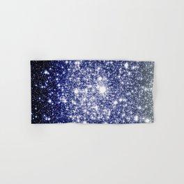 Deep Blue Silver Gray Galaxy Sparkle Ombre Hand & Bath Towel