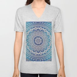 Teal And Aqua Lace Mandala Unisex V-Neck