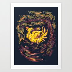 Chocobo with Blossoms Art Print
