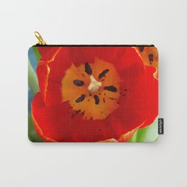 Red Tulips on Rich Teal  Carry-All Pouch