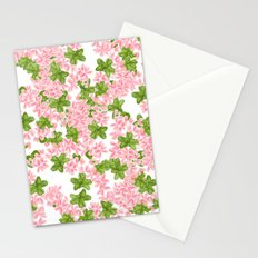Modern hand painted pink watercolor flowers and green tropical leaf pattern Stationery Cards