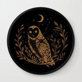 Owl Moon - Gold Wall Clock