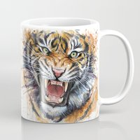 tiger Mugs featuring Tiger by Olechka