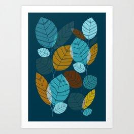 Dark Forest / Abstract Leaf Illustration Art Print