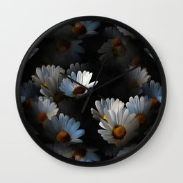 A Plethora Of Floating Daisies Isolated On Black Wall Clock