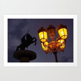 Skopje statue and streetlights at night Art Print