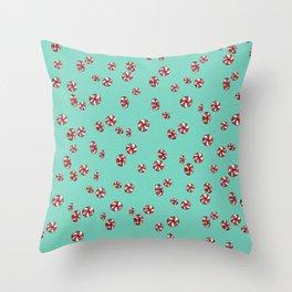 Peppermint Candy in Aqua Throw Pillow
